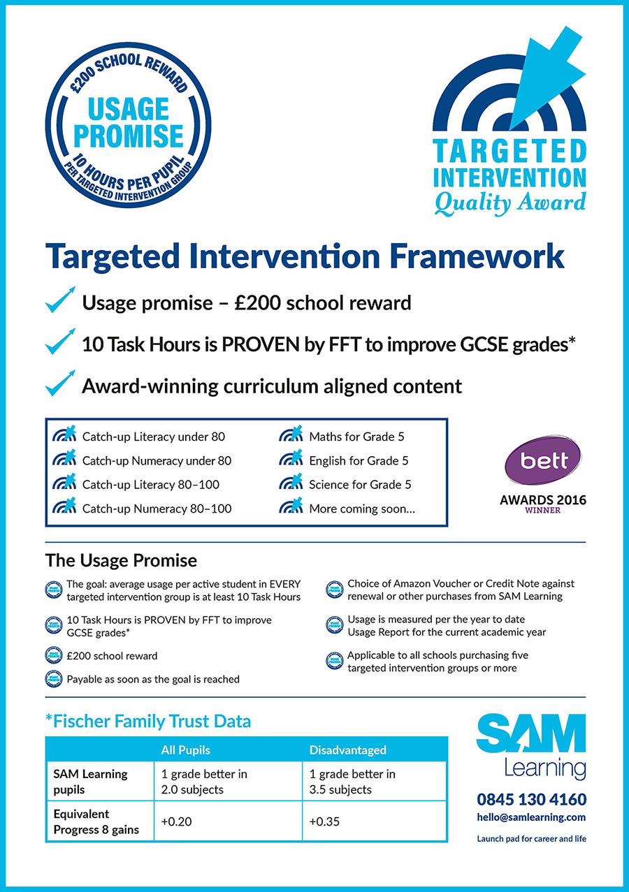 Targeted Intervention Frame work - Usage Promise £200 school reward